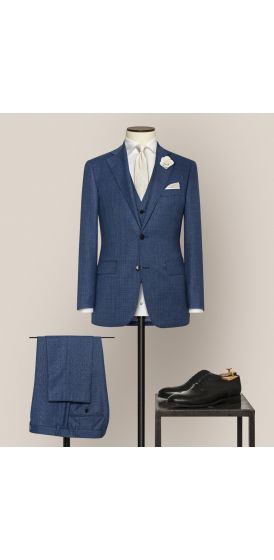 Luxe mid blue fancy weave suit made to measure