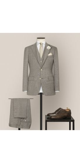 Luxe brown and white fancy weave suit made to measure