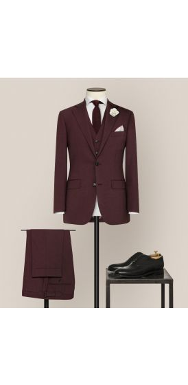 Luxe burgundy stretch wool suit made to measure