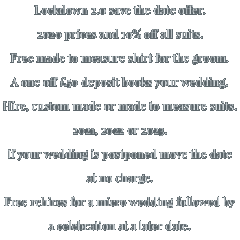 Lockdown 2.0 save the date offer.