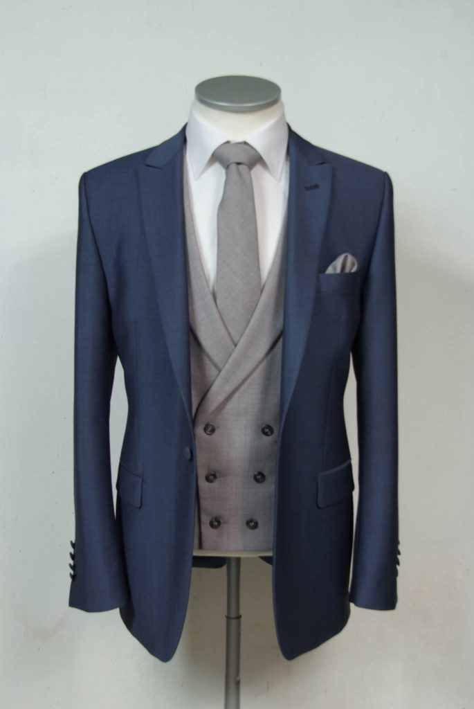 slim fit steel blue wedding suit