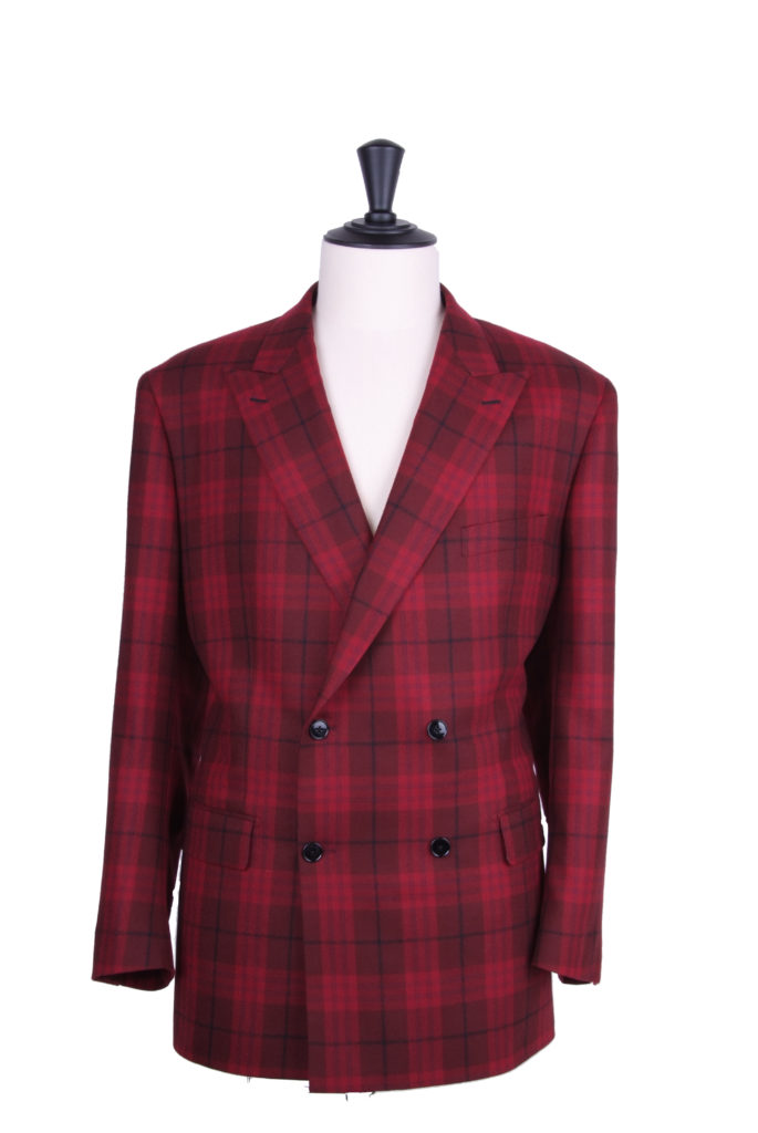Red plaid double breasted jacket.
