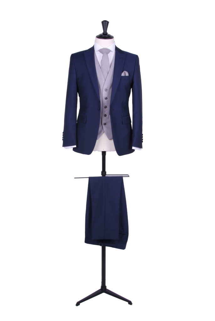 royal blue suit wedding hire slim fit