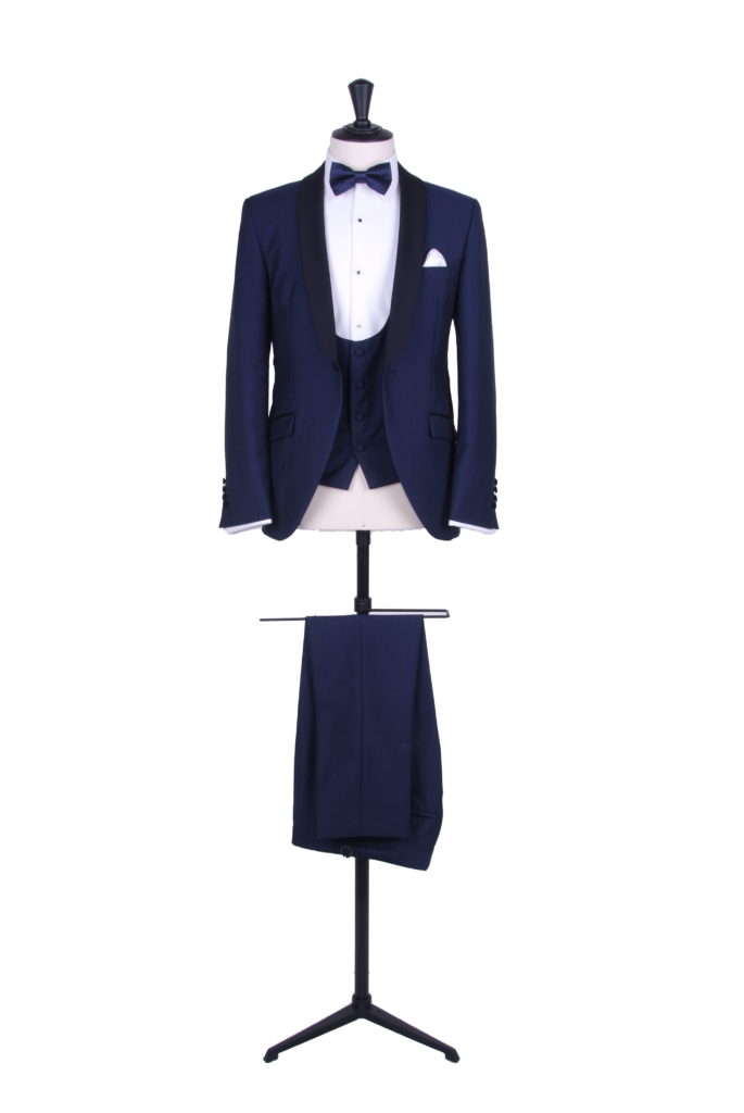 Slim fit royal blue hire dinner suit tuxedo DJ