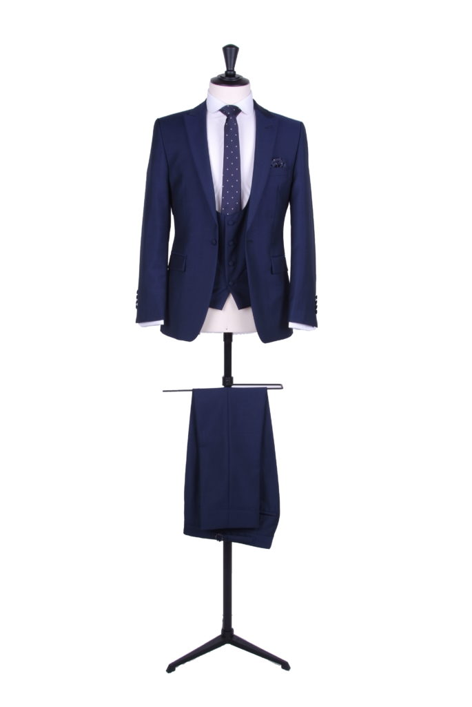 Royal blue slim fit suit hire