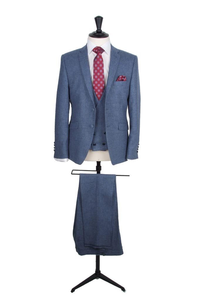 blue tweed lsim fit lounge hire suit
