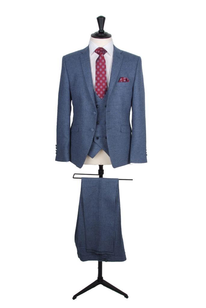 vintage blue tweed suit hire