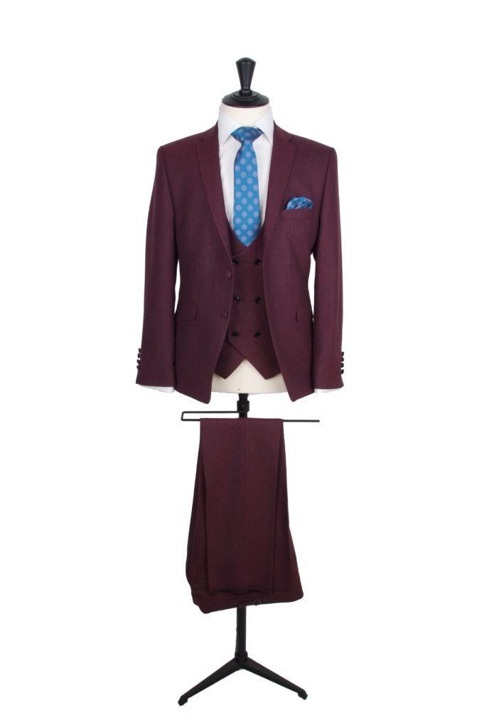 Burgundy slim fit hire suit