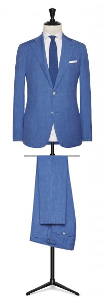 Blue wool, silk & linen summer wedding suit