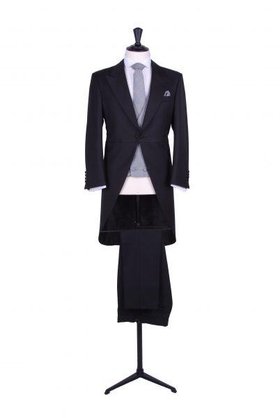 slim fit black tails wedding suit hire
