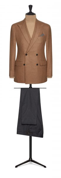 Camel jacket and contrast trouser