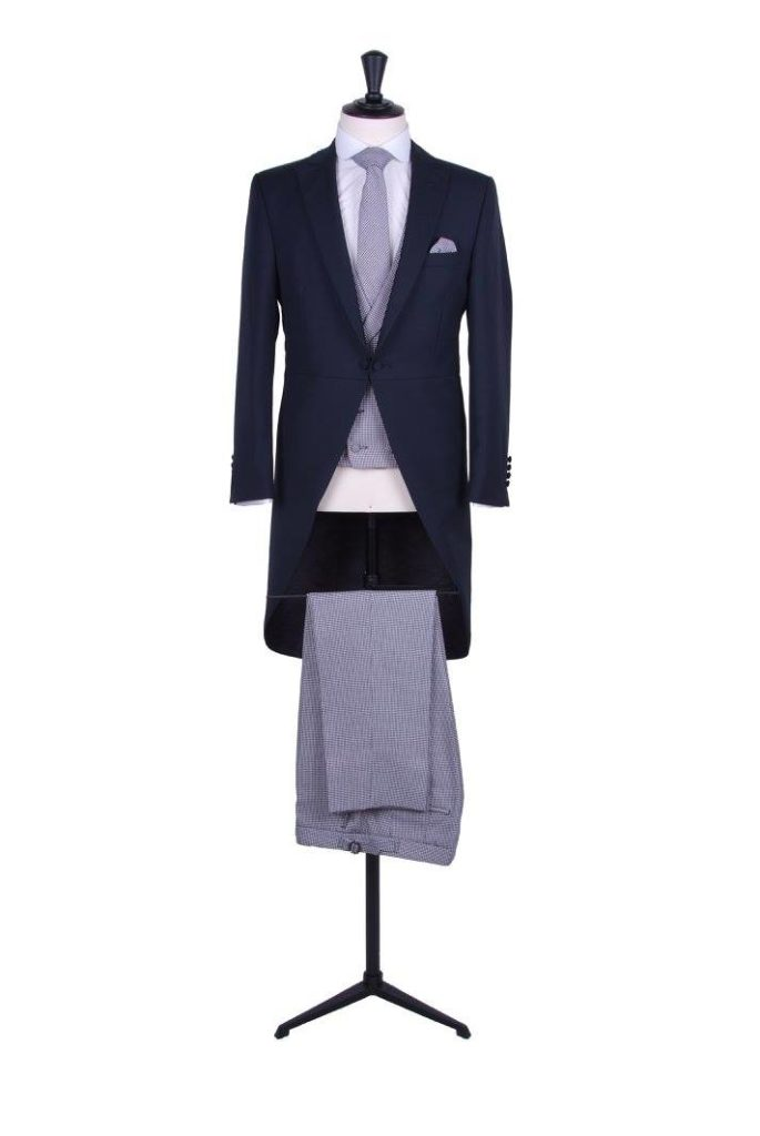 Navy morning suit dog tooth trousers