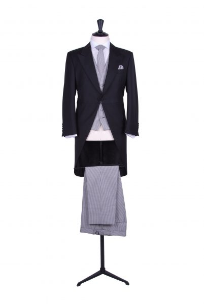 Contrast tail jacket with navy dogtooth