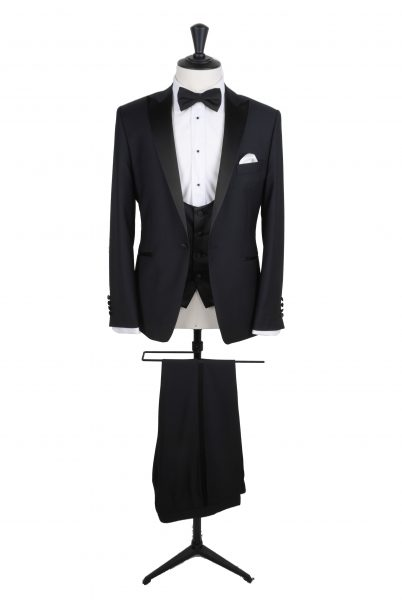 Black dogtooth dinner suit new to our hire collection