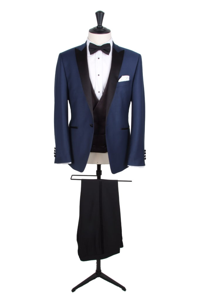 Navy dogtooth DJ slim fit hire tuxedo