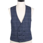 Lambs wool navy check collar less double breasted waistcoat
