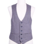 Country check scallop wedding waistcoat