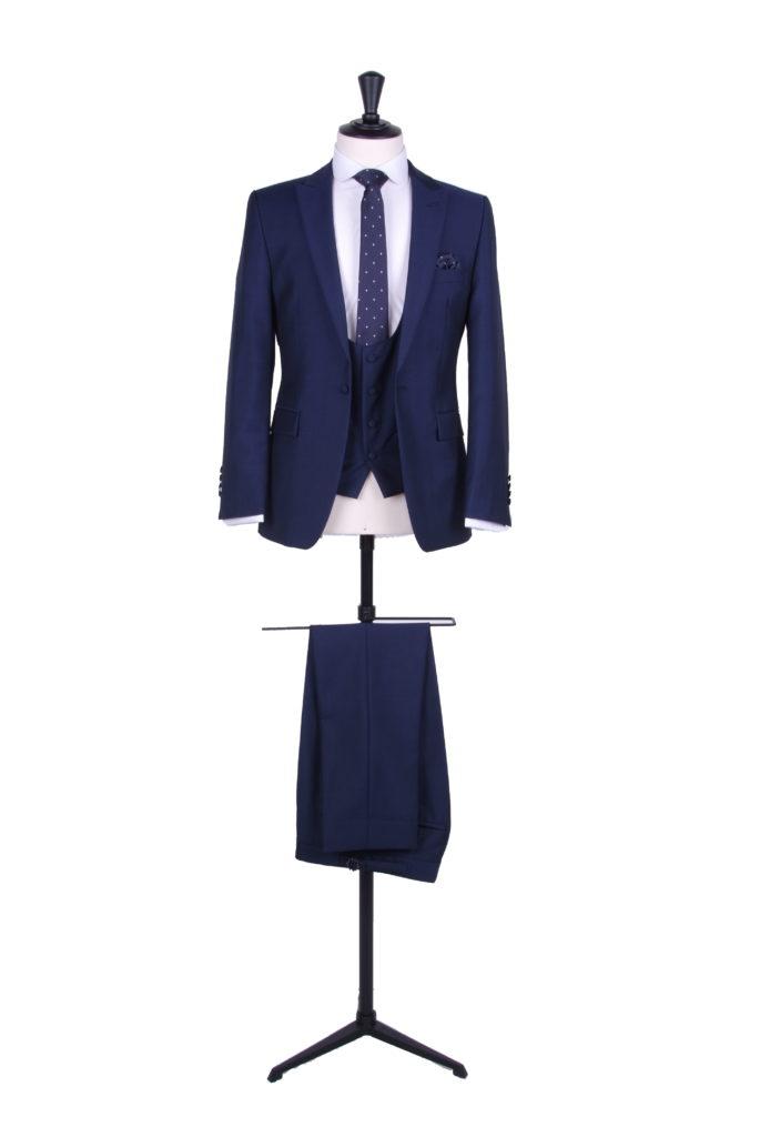 slim fit navy wedding hire suit