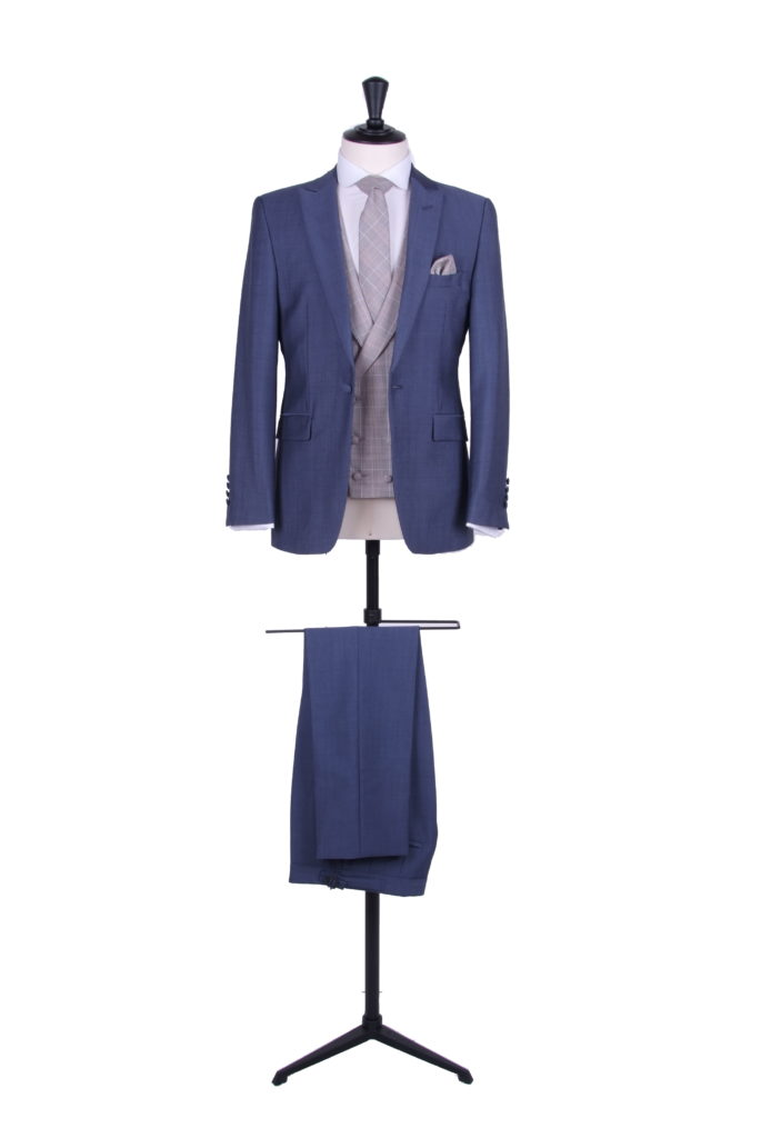 Slim fit steel blue suit
