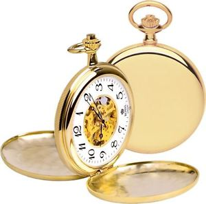 Gold double hunter pocket watch grooms