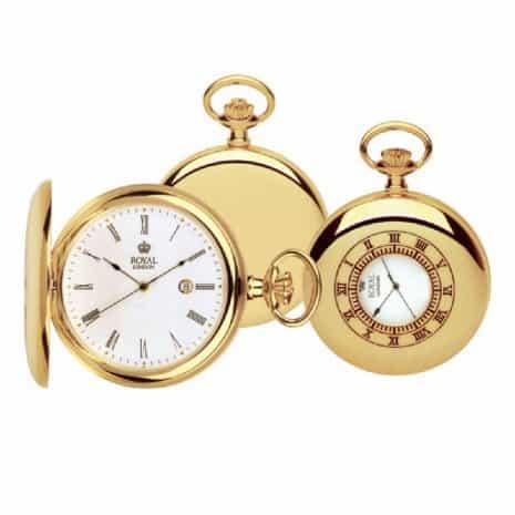 Gold half hunter grooms pocket watch