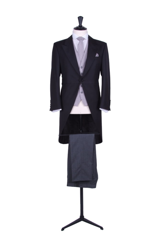 Black slim fit hire tailcoat light weight