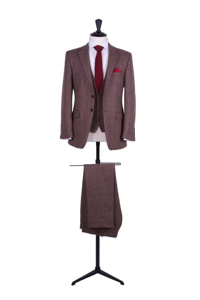 Brown tweed slim fit hire suit