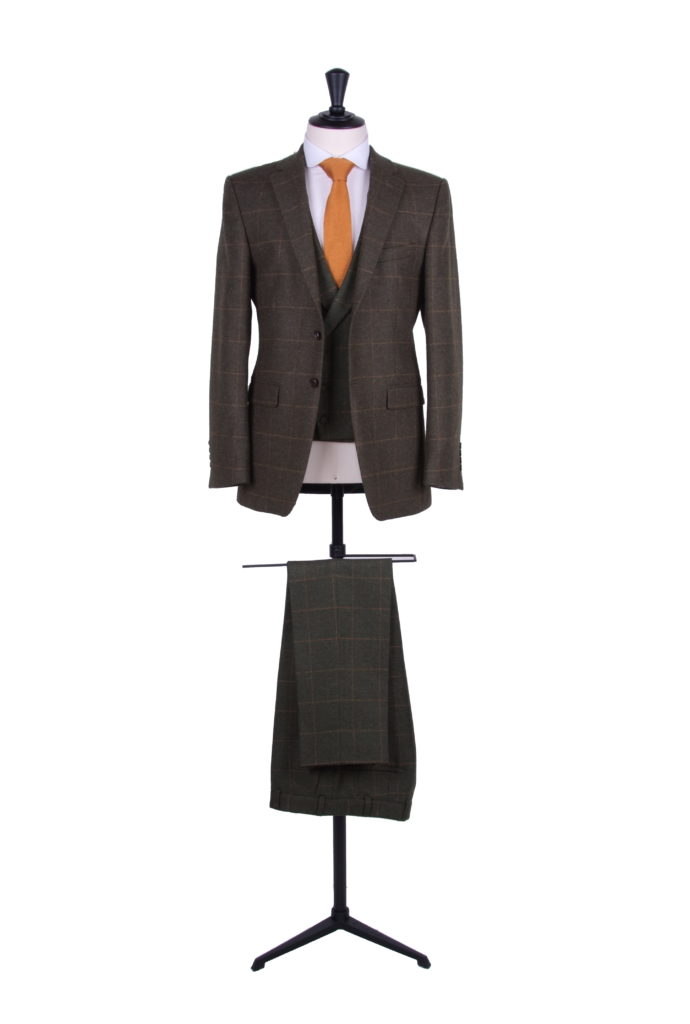 Green tweed wedding suit slim fit hire suit