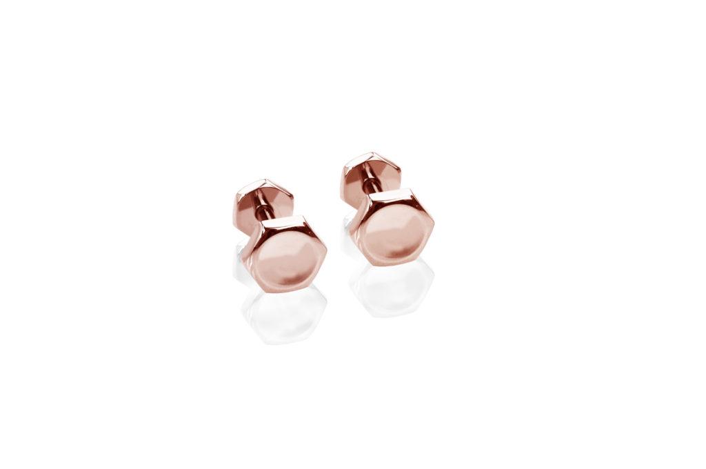 Babette Wiseman Nut and Bolt rose gold cufflinks