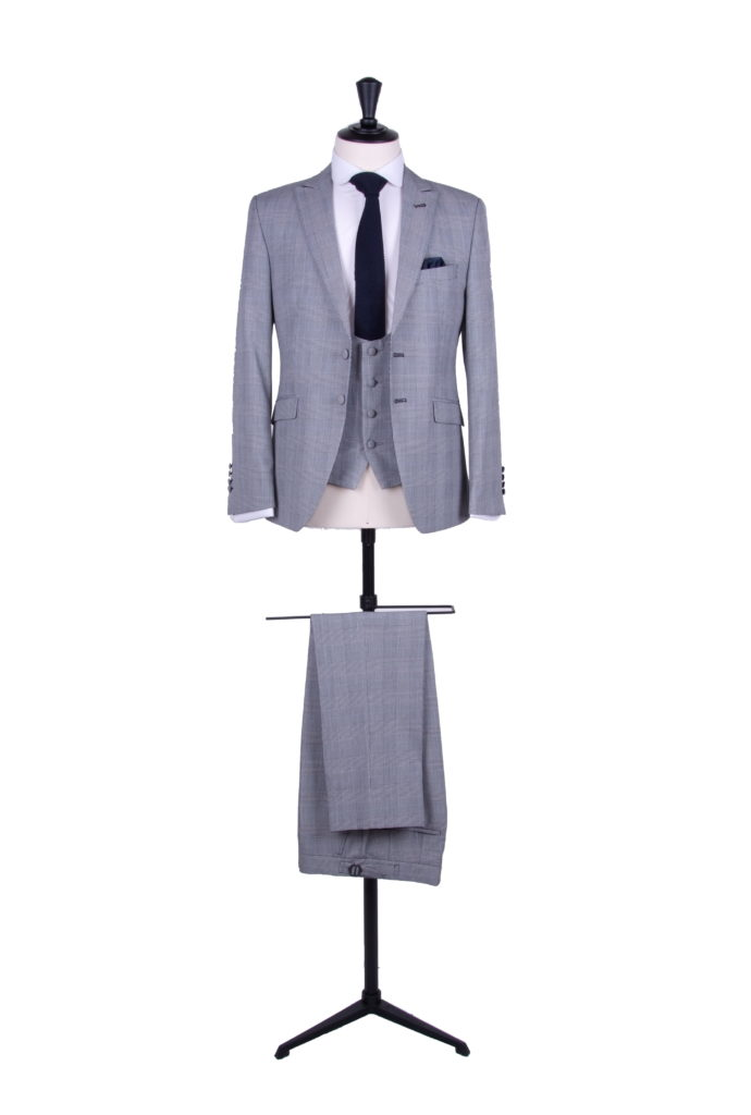 Prince of Wales slim fit grooms wedding suit