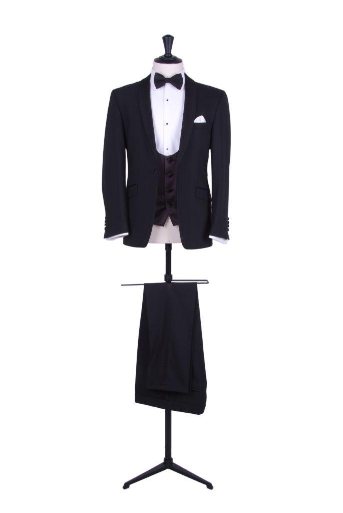 Black slim fit DJ hire tuxedo
