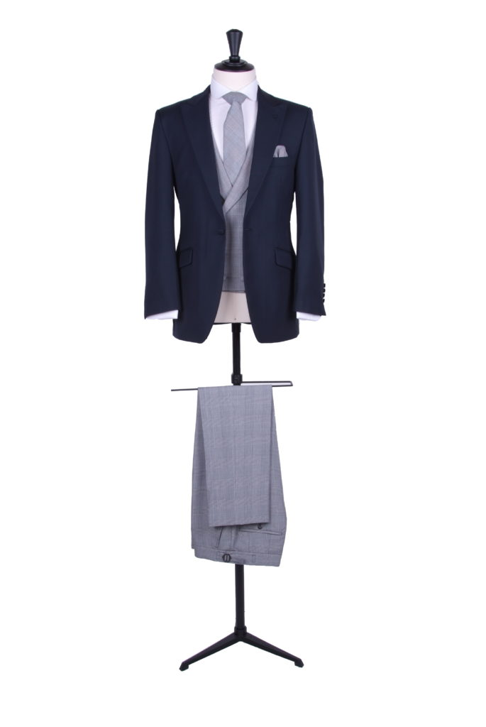 navy slim fit hire suit Prince of Wales trouser