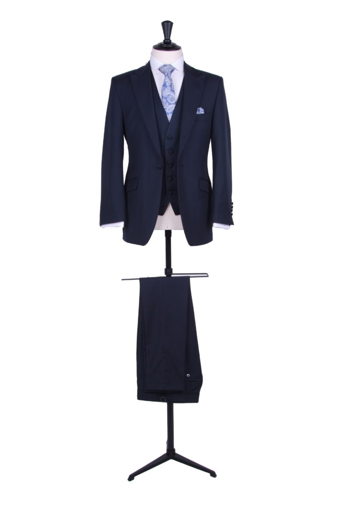 Navy light weight wool slim fit lounge suit - hire