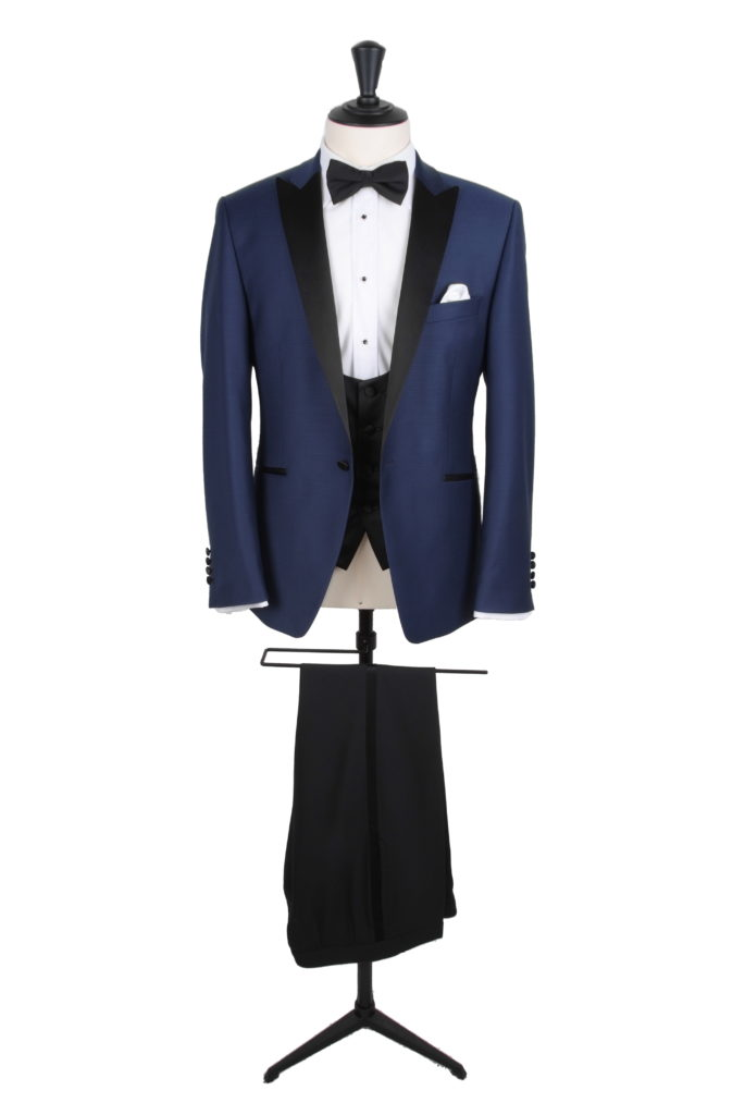 slim fit navy dog tooth dinner suit