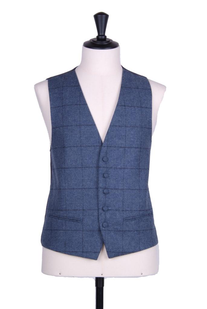 Tweed blue & navy check SB waistcoat
