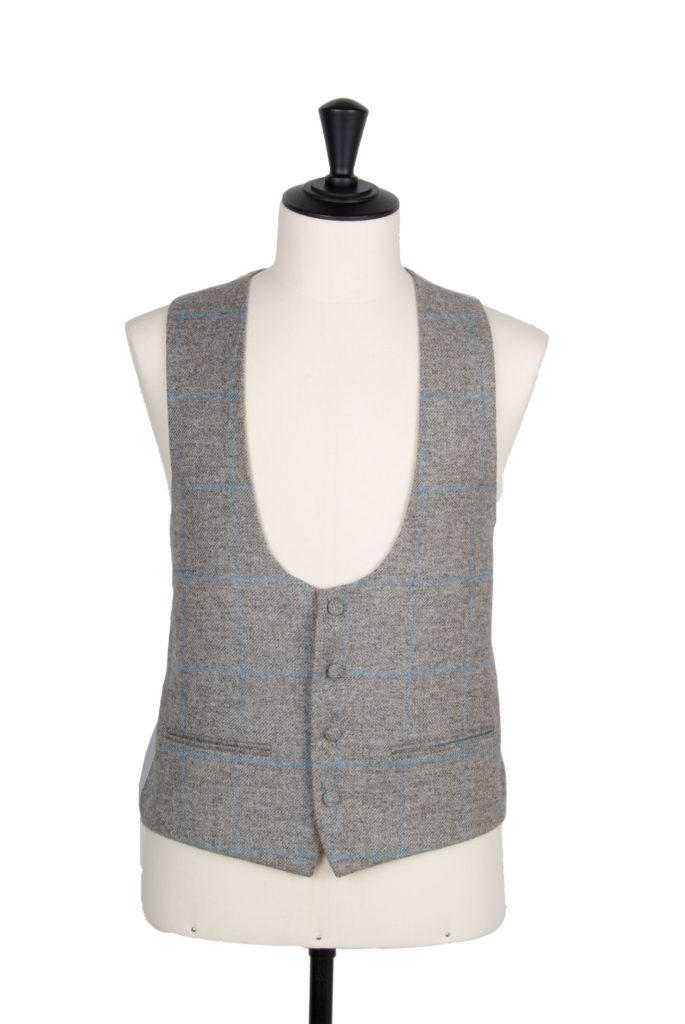 Tweed grey & blue scoop waistcoat