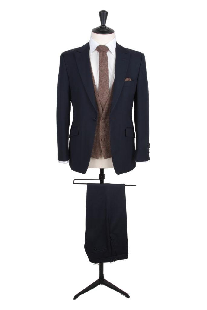 navy lounge suit 3 buuton tweed