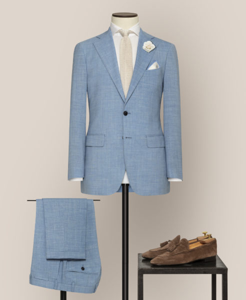 grooms made to measure wedding suit sky blue
