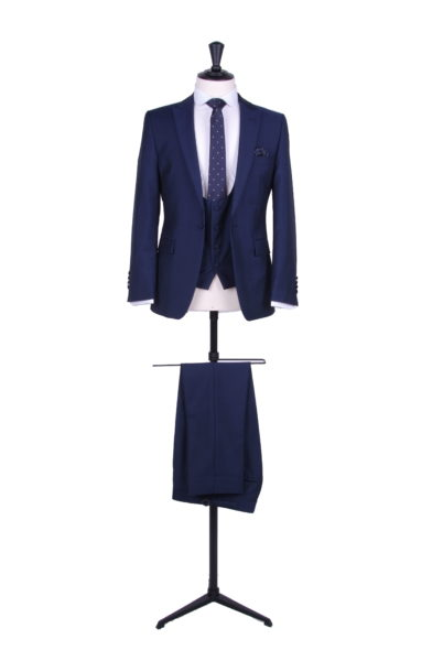 royal blue wedding suit with scoop waistcoat