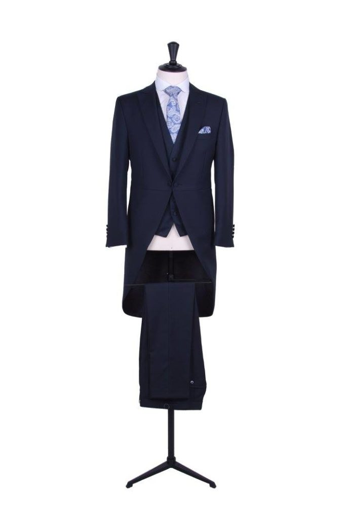 3 piece grooms navy wedding morning suit