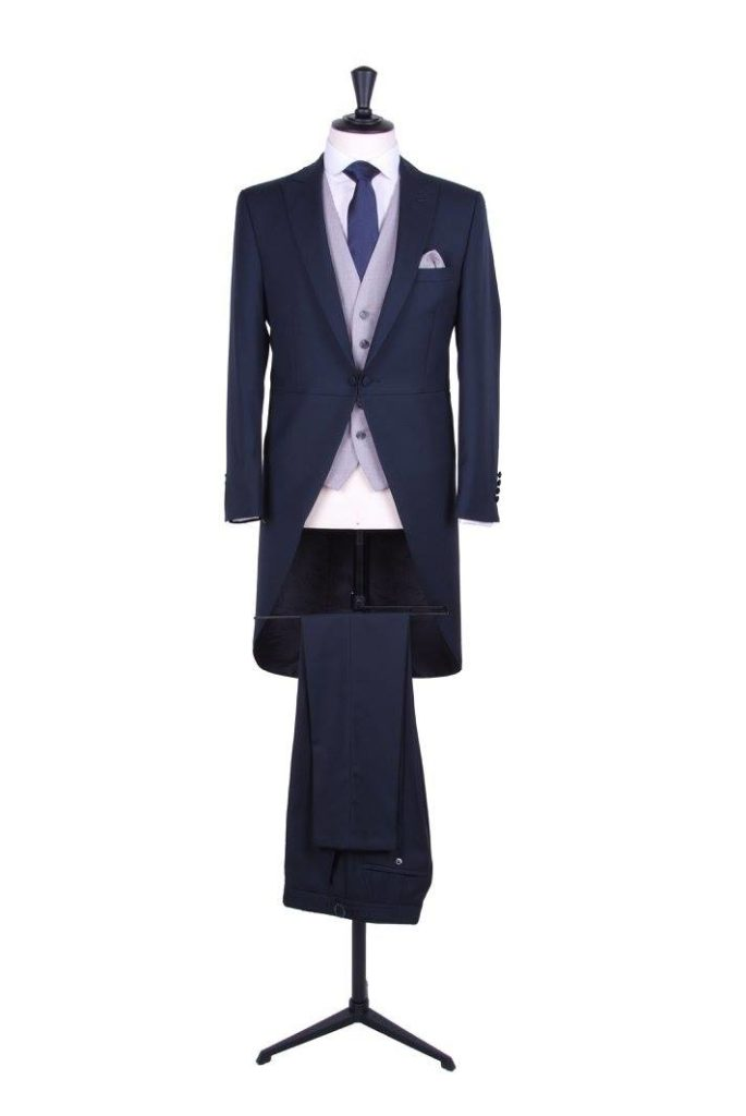 grooms navy wedding morning suit