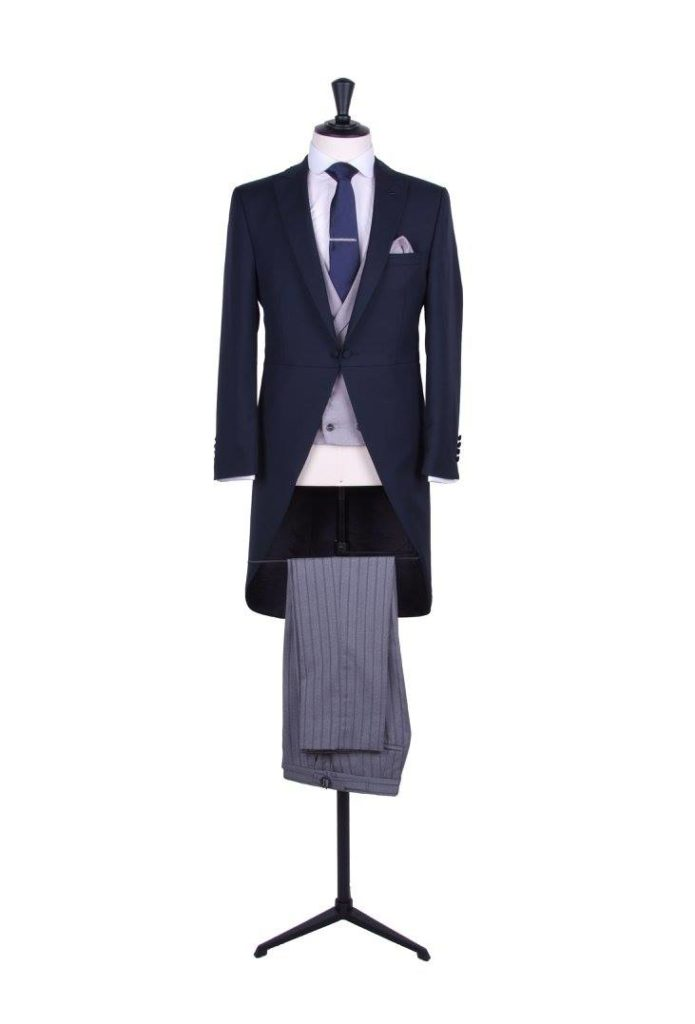 groom navy wedding morning suit