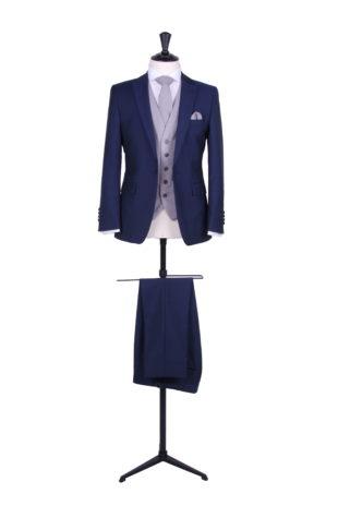 grooms royal blue wedding suit grey waistcoat