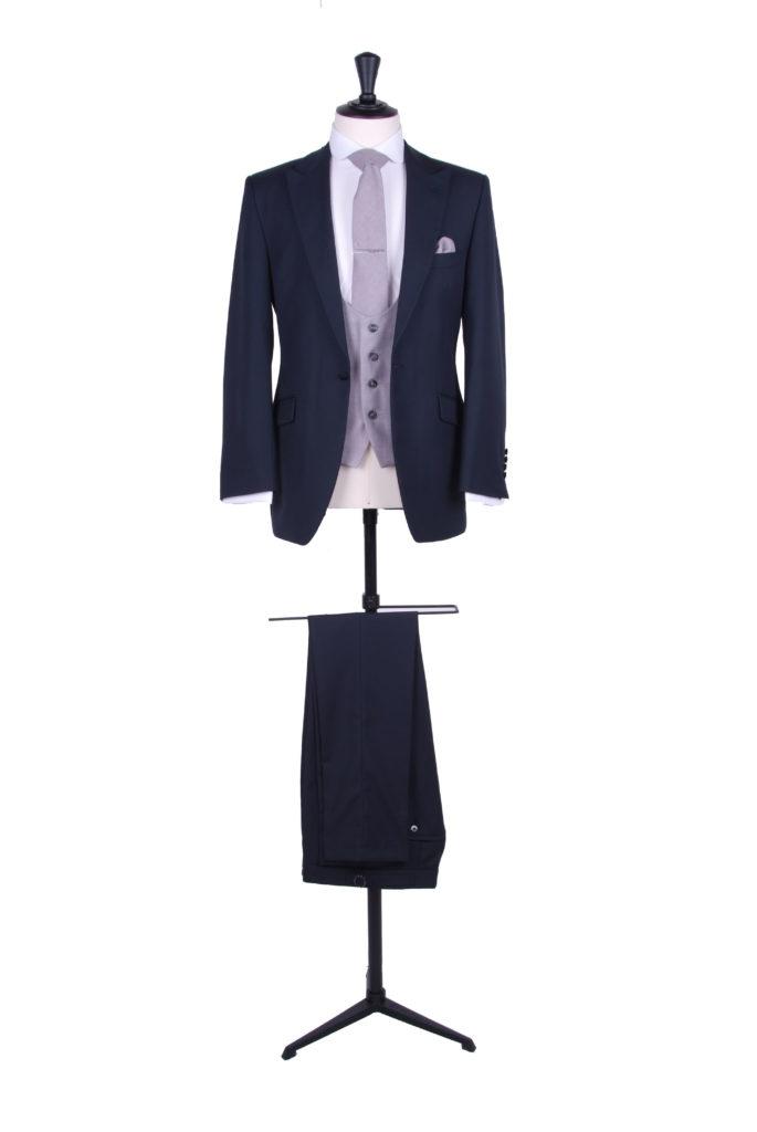 Navy wedding suit grey waistcoat