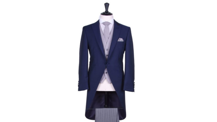 Royal blue slim fit wedding suit hire