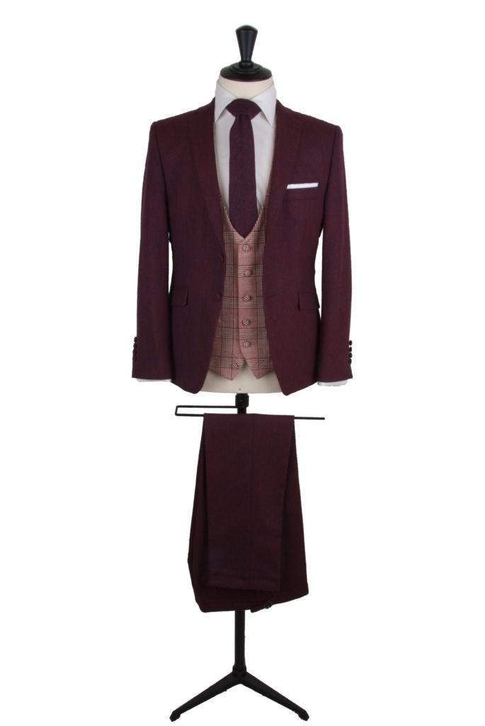 vintage tweed burgundy grooms wedding suit