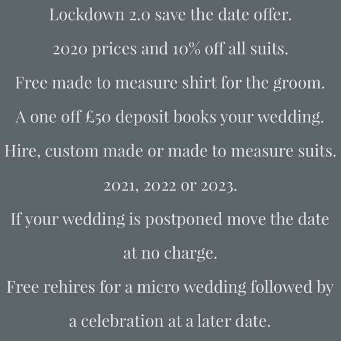 Lockdown 3.0 save the date offer.