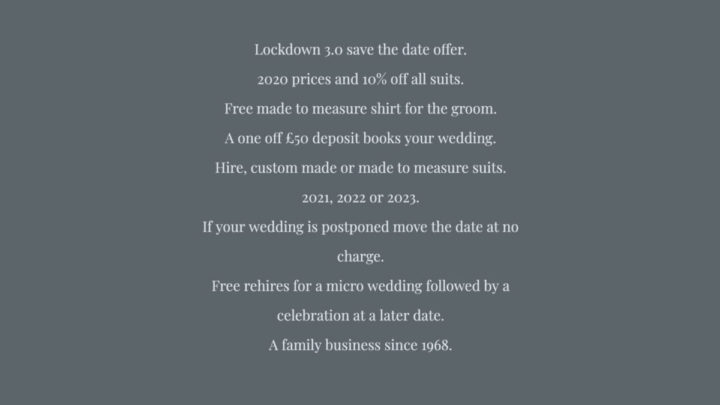 Lockdown 3.0 save the date offer